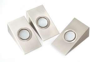 LED Downlights - FURNITURE 3 x 1.8W LED Under Cabinet Wedge Downlights & Driver - Stainless Steel