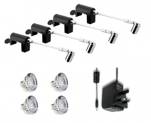 SPECTRUM MR16 LED Spotlight KITS 4 x Spectrum Clamp Spot, LED Lamps & Driver KIT