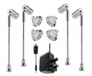 SPECTRUM MR16 LED Spotlight KITS 4 x Spectrum Stalk Spots, LED Lamps & Driver KIT