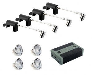 SPECTRUM LED Spotlight Battery Kits 4 x Spectrum Clamp Spots, LED Lamps & Battery KIT