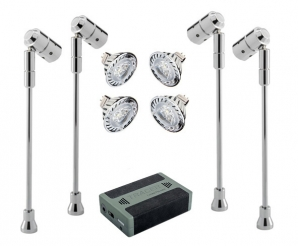 SPECTRUM LED Spotlight Battery Kits 4 x Spectrum Stalk Spots, LED Lamps & Battery KIT